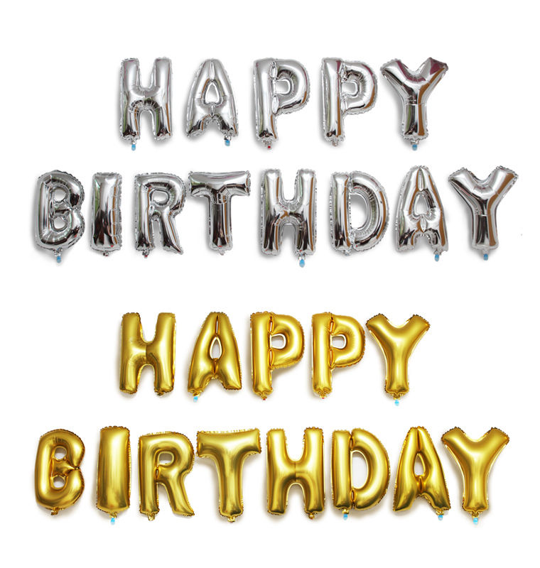 """16 Inch """"HAPPY BIRTHDAY"""" Letters 13 Pcs Foil Balloons Party Decoration 5 Colors"""