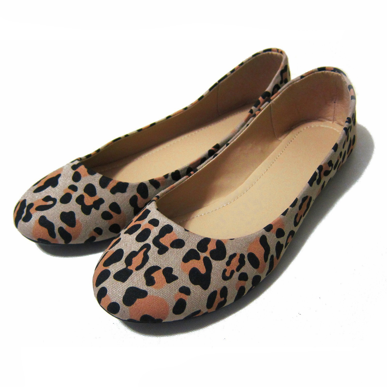 Womens Canvas Shoes Loafer Leopard Zebra Casual Lady Ballet Flat Size 6-7.5 NEW