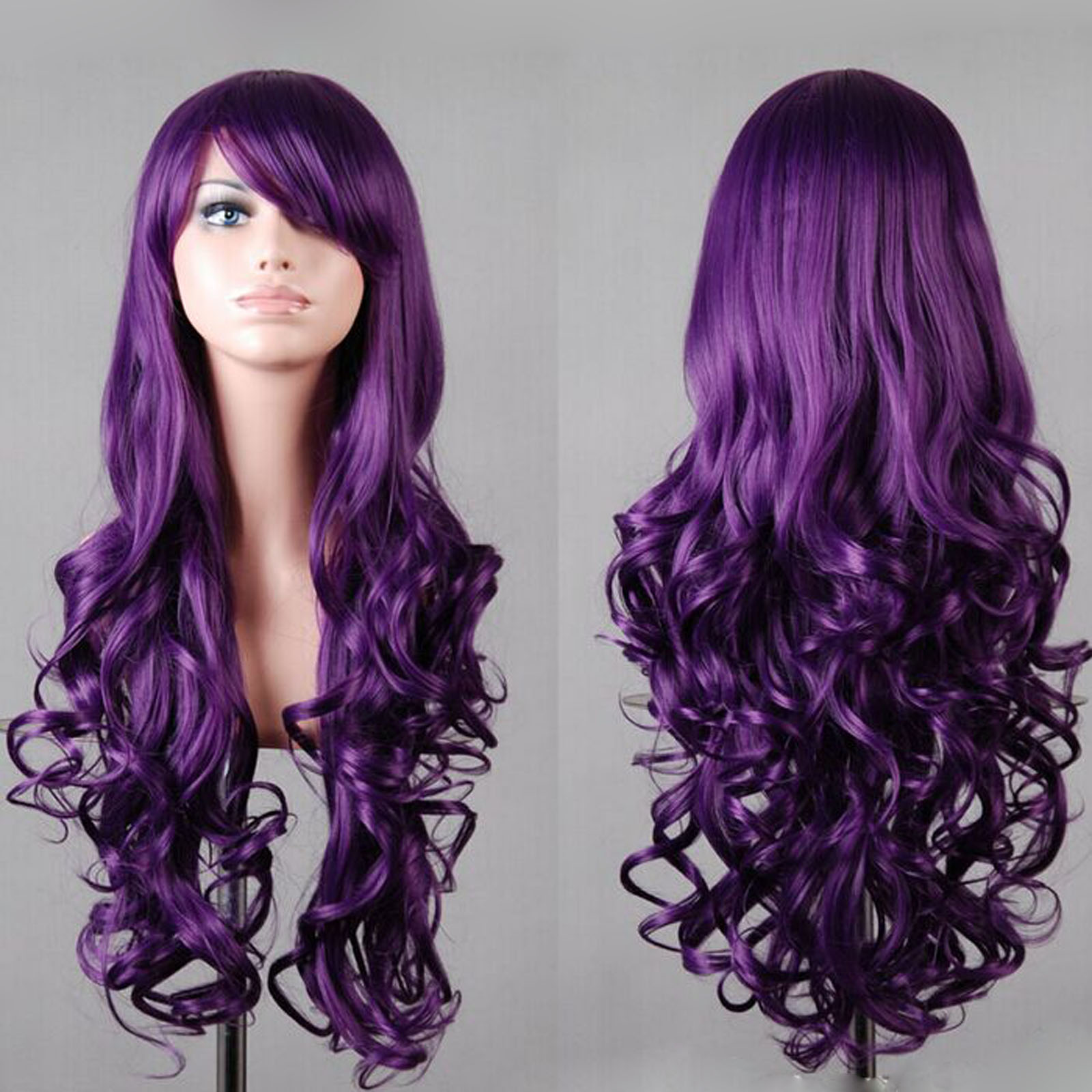 New Fashion Womens Long Wavy Curly Hair Anime Cosplay Party Full Wig & Cap 32""